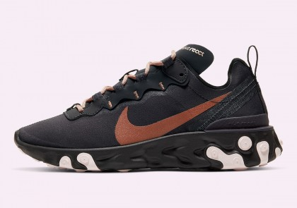 Nike React Element 55 Mujer Pairs Oil Gris With Maroon CT1186-001
