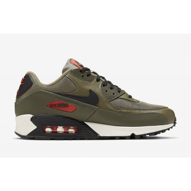 Air Max 90 Medium Olive Negras Team Naranjas - AJ1285-205